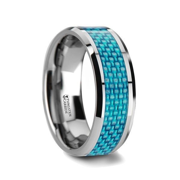 THORSTEN - AUGUSTUS Blue Carbon Fiber Inlay Tungsten Carbide Band