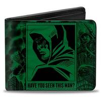 Green Arrow Profile Poses Have You Seen This Man? Green Black Bi Fold Wallet - One Size Fits most