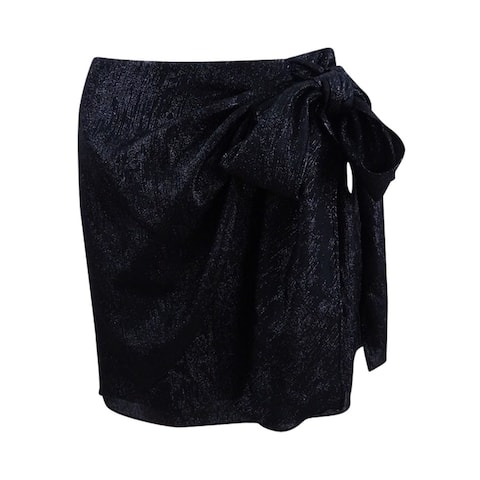 Michael Kors Women's Metallic Wrap Skirt - Black