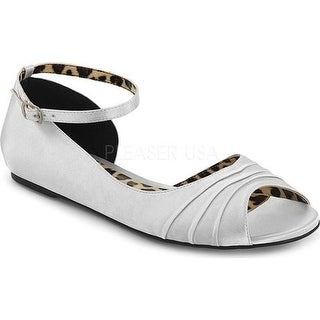 Pleaser Pink Label Women's Anna 03 Ankle-Strap Flat Silver Satin