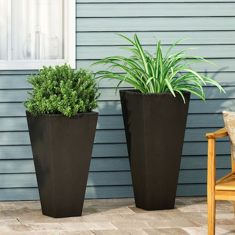 Ella Outdoor Modern Medium and Small Cast Stone Planter Set by Christopher Knight Home