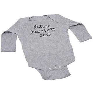 "Baby Boys Grey ""Future Reality TV Star"" Lap Shoulder Bodysuit NB-18m"