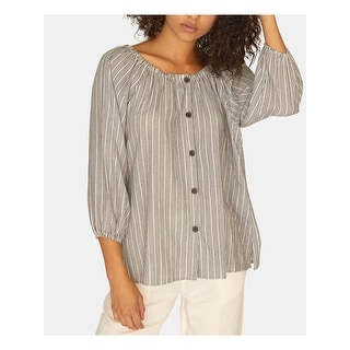 SANCTUARY Womens White Striped Long Sleeve Blouse Top  Size M