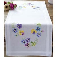 """16""""X40"""" - Pretty Pansies Table Runner Stamped Embroidery Kit"""