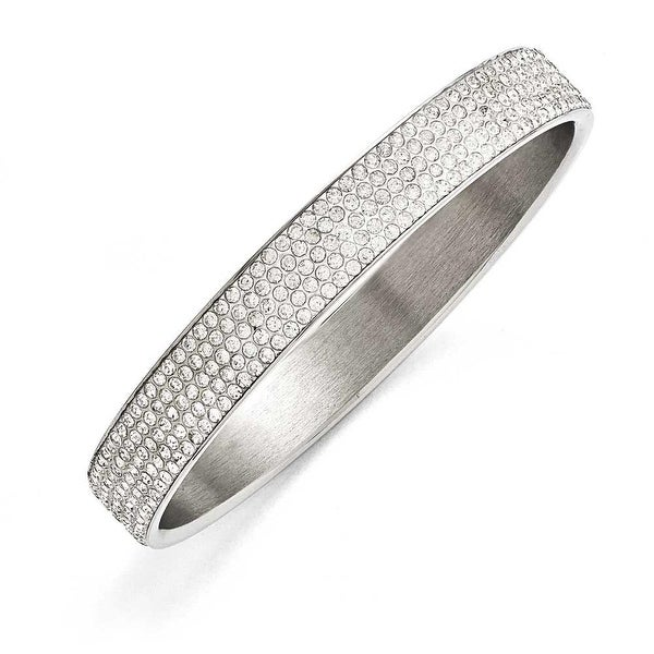 Chisel Stainless Steel Polished White Enamel with Crystals Thin Flat Bangle
