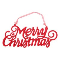 "9.5"" Red Velvet ""Merry Christmas"" Holiday Hanging Sign Decoration"