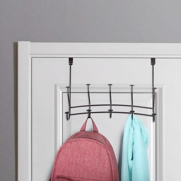 Over The Door Hook Rack Stainless Steel 5 Hooks Cloth Hanger Holder Coffee Color - Chocolate