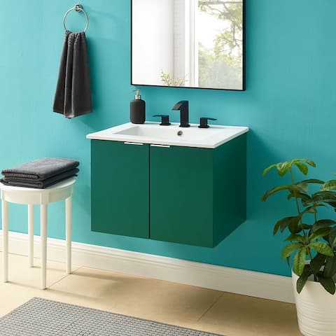 "Maybelle 24"" Wall-Mount Bathroom Vanity"