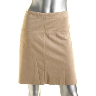 Studio M Womens Suede Stretch A-Line Skirt - L