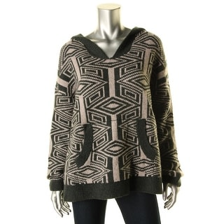Free People Womens Pattern Hooded Pullover Sweater