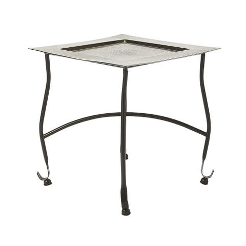 """15.75""""H Traditional Square Iron and Aluminum Tray Table in Metalwork Finish - Multicolor"""