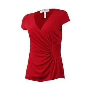 Laundry by Shelli Segal Women's Short Sleeve V-Neck Blouse