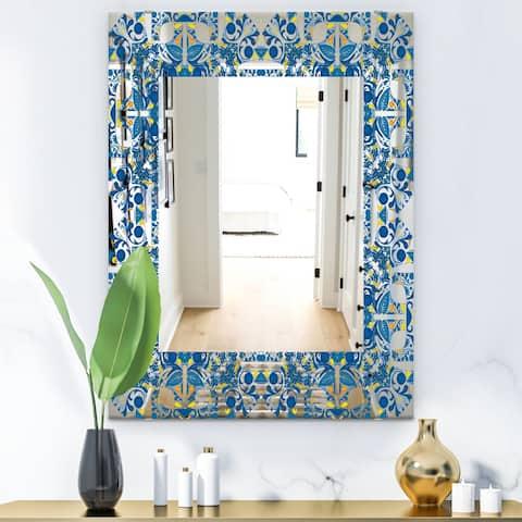 Designart 'Portuguese Tiles' Mid-Century Mirror - Frameless Wall Mirror