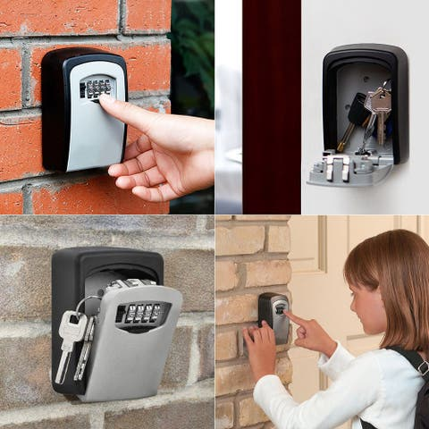 4 Digit Key Safe Security Storage Lock Box Combination Wall Mount