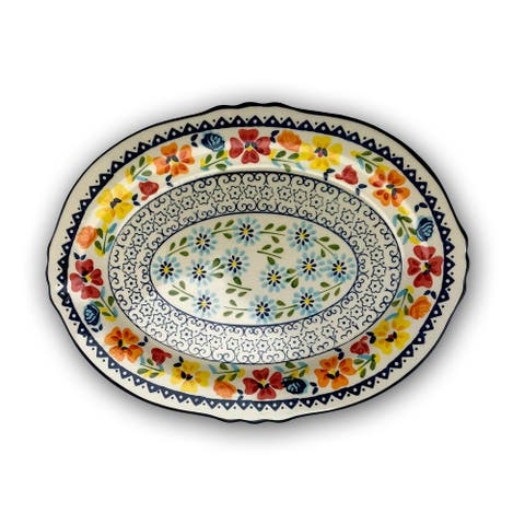 Gibson Elite Luxembourg 17.5 Inch Oval Stoneware Serving Platter