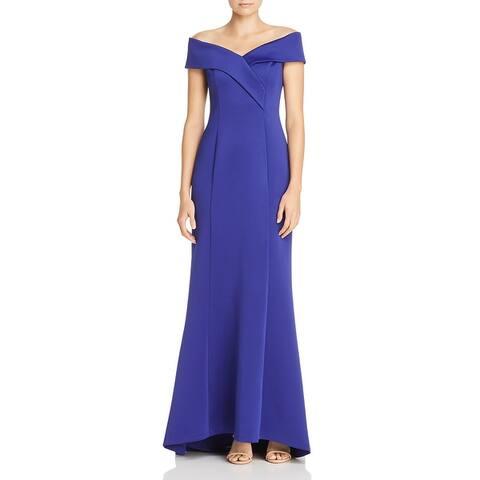 Eliza J Womens Evening Dress Off-The-Shoulder Scuba - Royal Blue