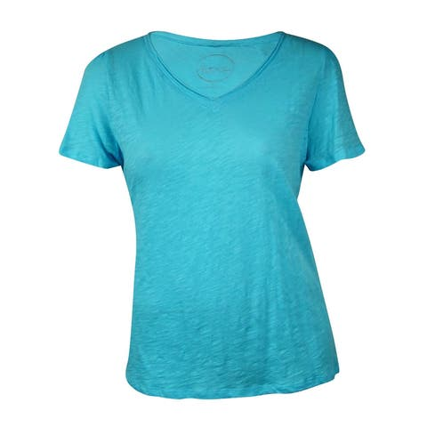 INC International Concept Women's Solid V-Neck Tee
