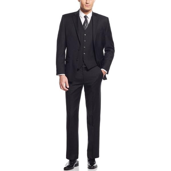 Ralph Lauern Black Wool 3-Piece Suit 42 Short 42S Pleated Pants 36W