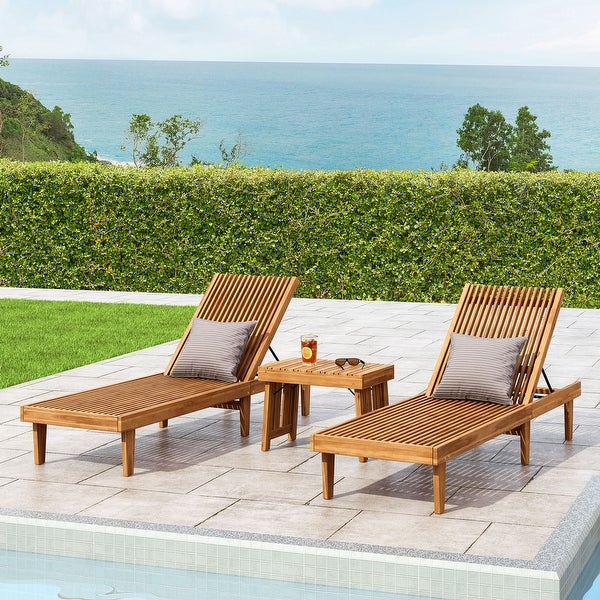 Nadine Outdoor Acacia Wood 3 Piece Chaise Lounge Set by Christopher Knight Home