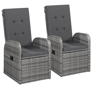 vidaXL Outdoor Chairs 2 pcs with Cushions Poly Rattan Gray