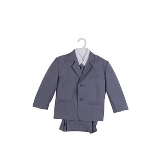 Paperio Boys Formal Suit Set with Long Tie, Shirt, and Vest Gray