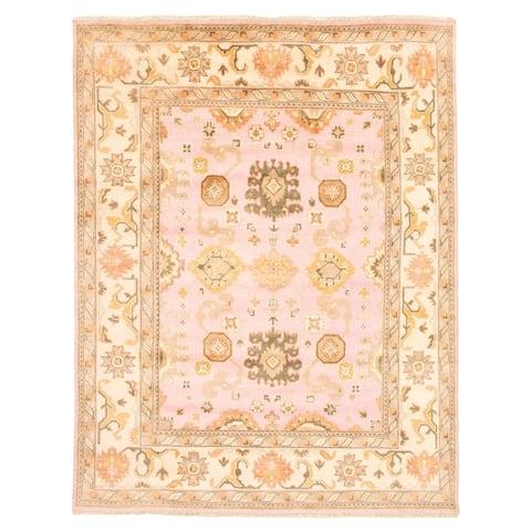 ECARPETGALLERY Hand-knotted Royal Ushak Pink Wool Rug - 7'10 x 9'11