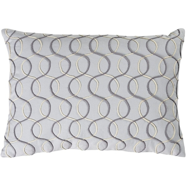 "19"" Medium Grey and Charcoal Contemporary Pattern Woven Knife Edge Throw Pillow - Down Filler"