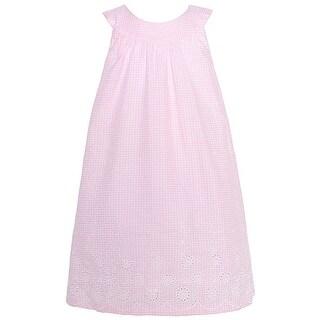 Mia Juliana Little Girls Pink Yoke Neckline Eyelet Trim Easter Dress 2T