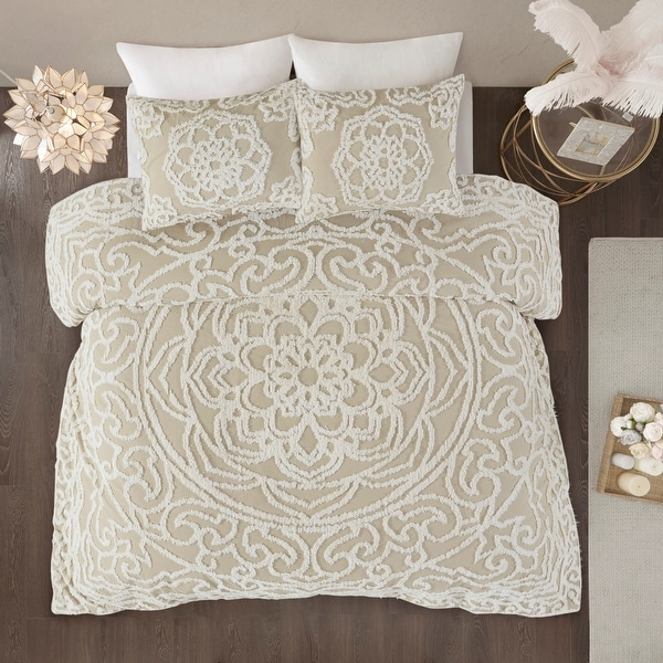 Madison Park Virginia Tufted Cotton Chenille Medallion Duvet Cover Set. Opens flyout.