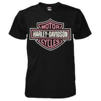 Harley-Davidson Men's Pink Bar & Shield Short Sleeve T-Shirt, Black 5L33-D272