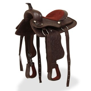 "vidaXL Western Saddle, Headstall&Breast Collar Real Leather 12"" Brown"
