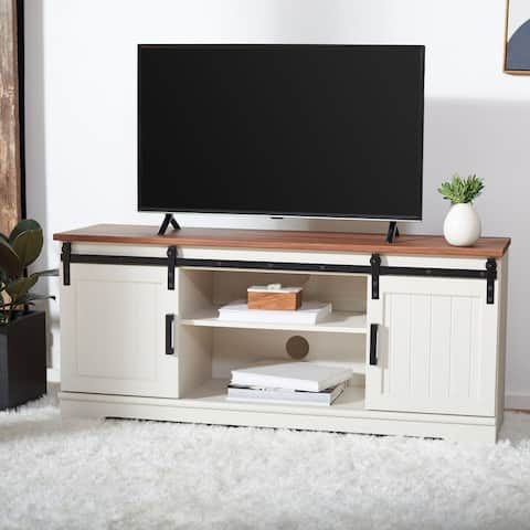 "Safavieh Braelynn White Washed/Walnut 55-inch Storage TV Media Stand - 54.8"" W x 15.4"" x 24.2"""