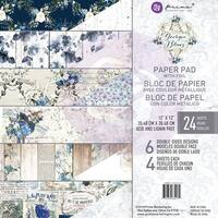 "Prima Marketing Double-Sided Paper Pad 12""X12"" 24/Pkg-Georgia Blues, 6 Foiled Designs/4 Each"