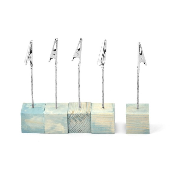 Home Wooden Cube Tabletop Note Photo Picture Memo Clip Clamp Light Blue 5 Pcs