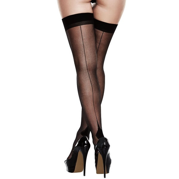 d0c1b1490 Shop Black Seamed Cuban Heel Thigh Highs