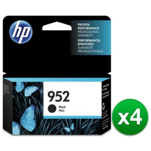 HP 952 High Yield Black Original Ink Cartridge (F6U15AN)(4-Pack)