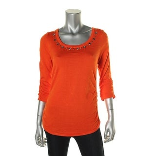 NY Collection Womens Rouched Grommet Pullover Sweater