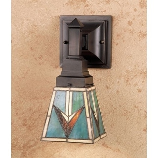 Meyda Tiffany 48181 Stained Glass / Tiffany Down Lighting Wall Sconce from the Comanche Mission Collection