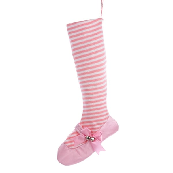 "24"" Pretty in Pink White Striped Ballet Shoe Christmas Stocking"