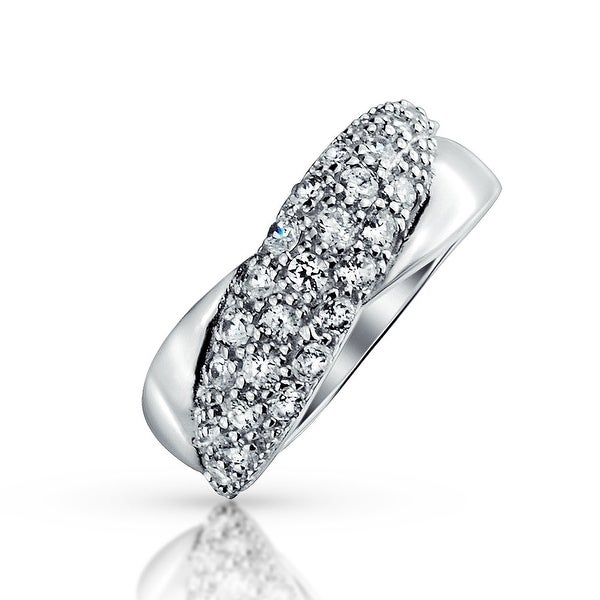 9294aa5e9f359 Wide Micropave Cubic Zirconia Twist 925 Sterling Silver Colorless CZ Band  Ring