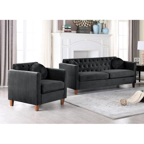 Persaud velvet Kitts Classic Chesterfield Living room set-Sofa and Chair