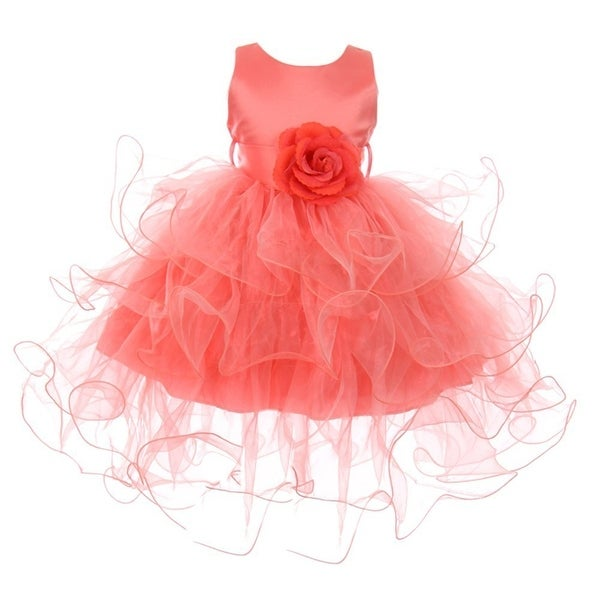 Baby Girls Coral Floral Adorned Cascade Ruffle Stylish Flower Girl Dress