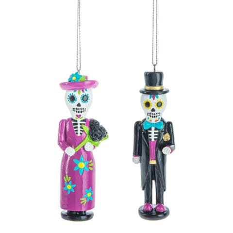 Day of the Dead Nutcracker Man and Woman Holiday Ornaments Set of 2