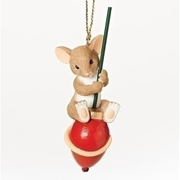 "3.5"" Charming Tails ""You Make the Season Brighter"" Mouse on a Red Light Bulb Christmas Ornament"