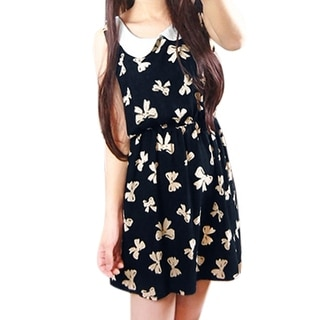 Women Stretchy Waist Sleeveless Sweet Tank Dress Dark Blue M - Dark Blue