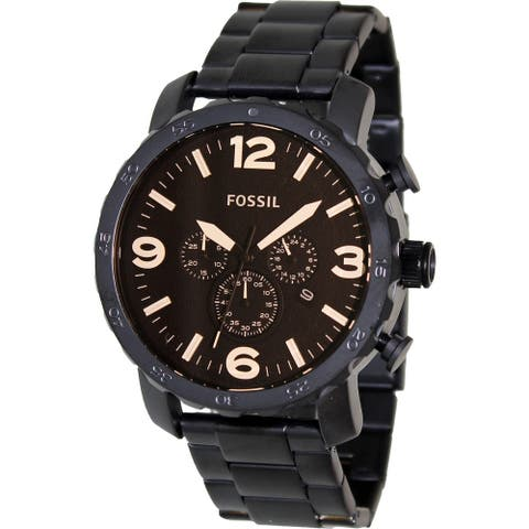 Fossil Men's Nate Black Stainless-Steel Analog Quartz Fashion Watch