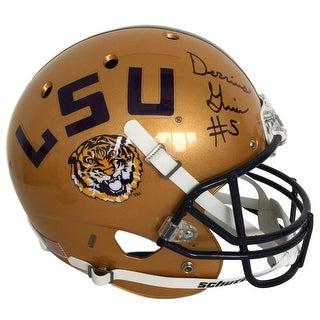 Derrius Guice Signed LSU Tigers FS Gold Schutt Replica Helmet Sports Integrity