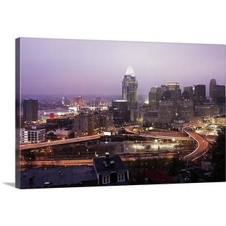 """""""Ohio, Cincinnati skyline at dawn"""" Canvas Wall Art"""