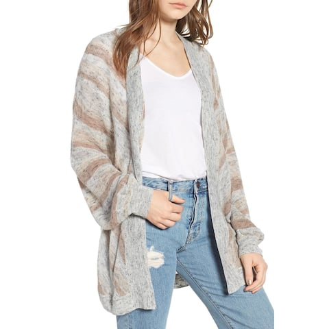 Hinge Women's Cardigan Gray Multi Size XL Open Front Striped Cable-Knit