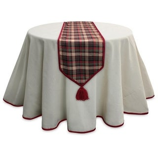 Pack of 2 Red and Green Plaid Table Runner with Red Tassels 79""